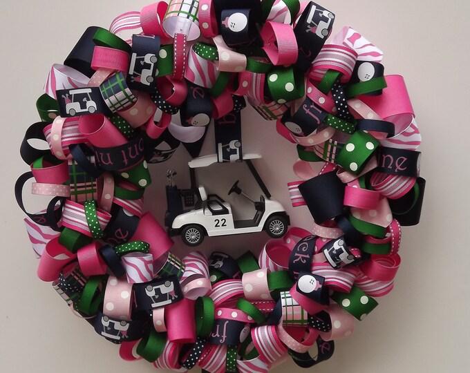Golf lover's Wreath. Preppy navy, pink & green. 14 Inch