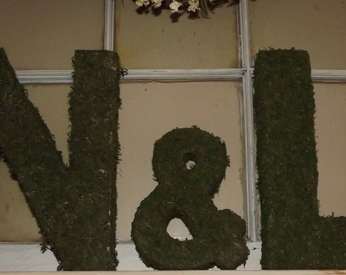 Moss covered Letters 12 inch set and Ampersand