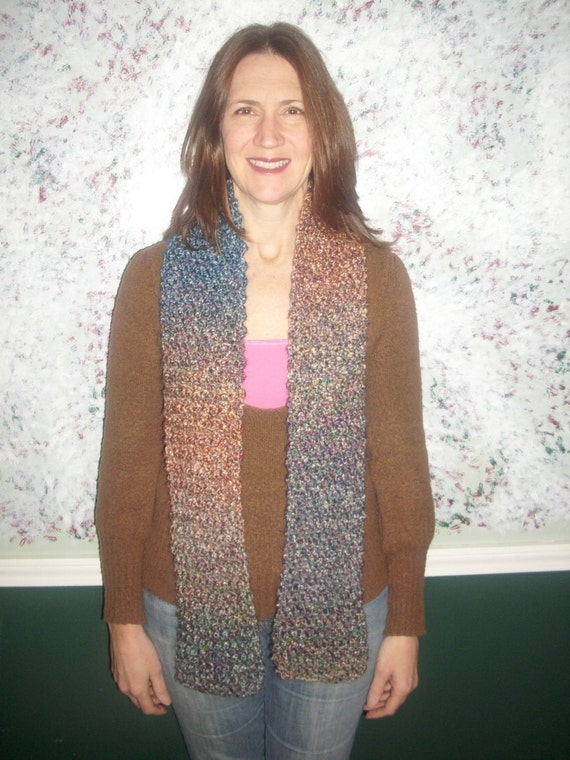 Scarf in Rust, Blue, Brown, and Gold - Handknit - Chunky - Warm - Painted Desert