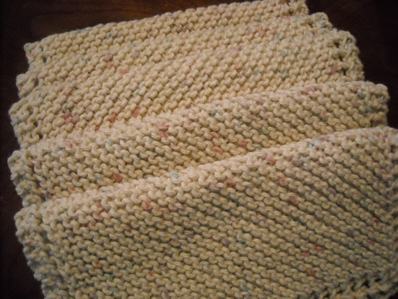 Dish Cloth - Set of 5 in Cotton - Large - Hand Knit - 9 Inches Square