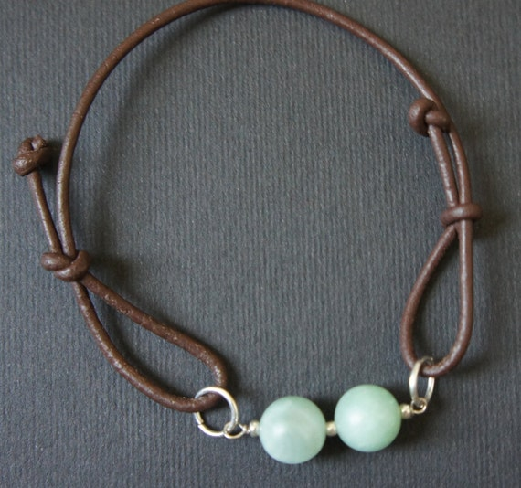 Amazonite, light green, beads in brown leather cord