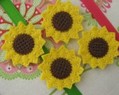 Wholesale Machine Embroidered Sunflowers - Four (4) Embroidered Felts