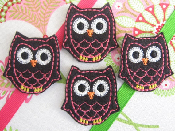 Wholesale Machine Embroidered Owls - Four (4) Black and Hot Pink Embroidered Appliques