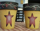 Primitive Country Stars Clay Pots