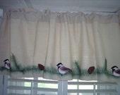 Northwoods Lodge Chickadee Pine Cotton Duck Valance