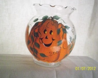 Painted Halloween glass candy holder or candle holder