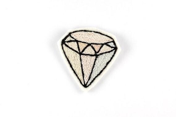Pastel Diamond Patch - Geometric Embroidery Applique Brooch