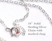 """18""""  1.5mm Solid Sterling Silver Chain with Marked 925 Clasp"""