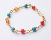 100% Handmade Turquoise and Amber Bracelet in Gold