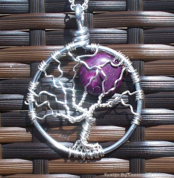 Sterling Silver Tree of Life with Dark Purple Jasper Stone
