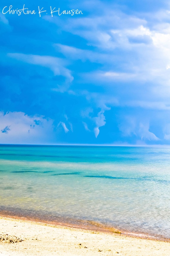 Rainstorm photo. Beach photo. Storm Photography. Rainstorm. Deep Blue. Sand. Wisconsin. Blue. Turquoise. Wispy Clouds. Fine Art Photography