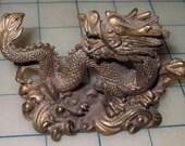 "Beautiful 4"" Lucky Dragon Brass Feng Shui Talismanic Figurine"