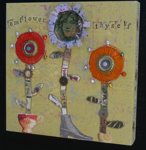 Original Mixed-Media: Emflower Thyself