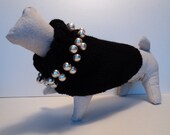 Classic Wool Dog Sweater with Chunky Pearl Necklace