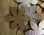 10 x Silver Leather Flowers/ Leather Supplies/ Jewelry Supplies/Crafts/ Aplique/ Embellishments/Laser cut/