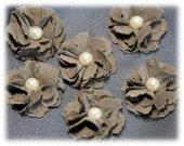 Handmade Fabric Flowers Brown Cardmaking, Scrapbooking