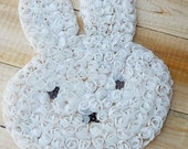 Big Easter Bunny Applique Mesh Trim White Chiffon Flower Fabric Craft Sewing On Patch DIY Kit