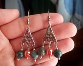 100% Donation Item-- Coral and Jade Chandelier Earlings