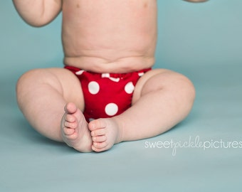 Polka Dot Diaper Cover, Red with White Polka Dots, Made to Order, Photo Prop
