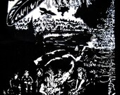 SALE //// Blackbird Raum Large Screen Printed Back Patch Black Canvas Crust Punk Folk