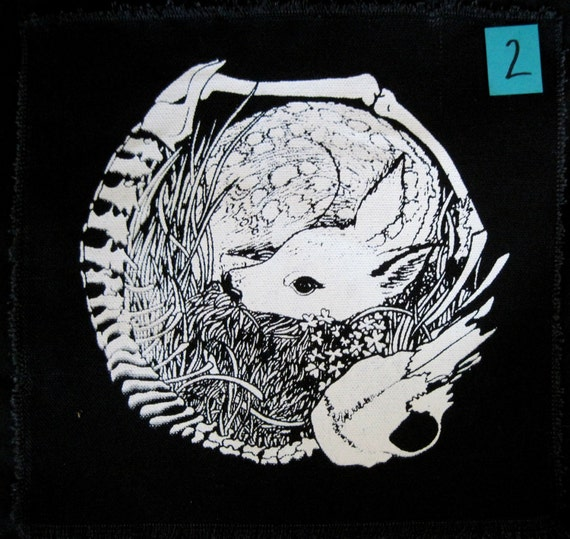 MISPRINT Deer Skeleton Circle Screen Print Back Patch Life and Death Crust Punk