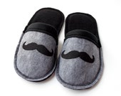 Christmas in July CIJ Boys Mustache Slippers  Black Grey  Fleece Slippers Boys Scuffs Kids House shoes - MoJosCozyToes