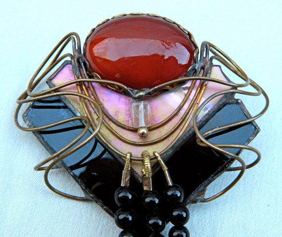 Vintage Signed SALLY GETCHELL Carnelian and Stained Glass Pin / Brooch Art Nouveau Revival  - Large - Stunning