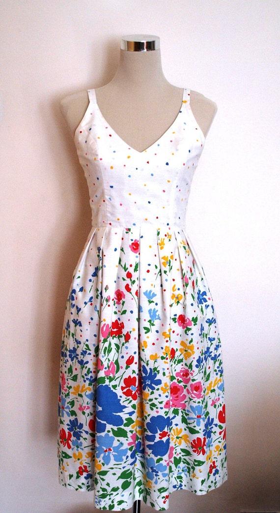 1950s 1960s Lanz Originals Vintage Summer Dress Crisp
