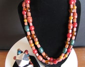 Vintage Colorful Chunky Beaded 70s Style Kate Hines Designer Necklace and Bracelet Set