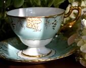 Vintage Royal Crown Derby Fine Bone China Tea Cup and Saucer, Aqua, Vine, Gold Gilt, England