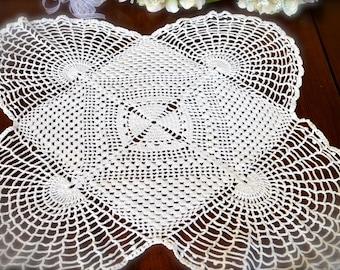 Vintage Hand Crocheted Ecru Doily  3334