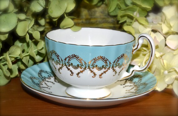 Vintage Aynsley Fine Bone China Tea Cup and Saucer, Floral and Butterfly Motif, Gold Gilt, England