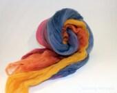 Spinning Fiber Art Batt - Merino Blue Magenta Orange Yellow -  Mute Flower - 1.30 oz