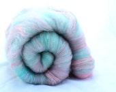 Spinning Fiber Art Batt - Pink Blue Mint - Minty Apples -  3.56 oz
