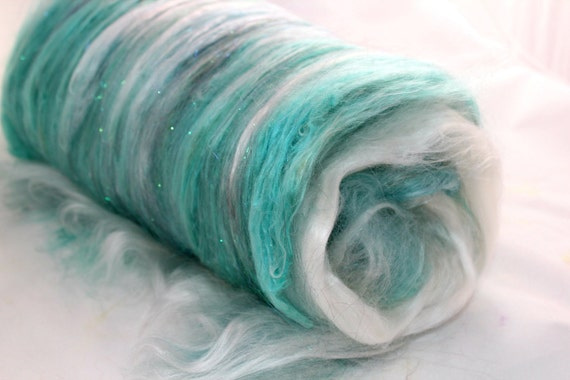 Alpaca, Mulberry Silk, Bamboo and Angelina in Aqua Blue and Turquoise - Mermaid Spinning Fiber Art Batt - 3.10 oz