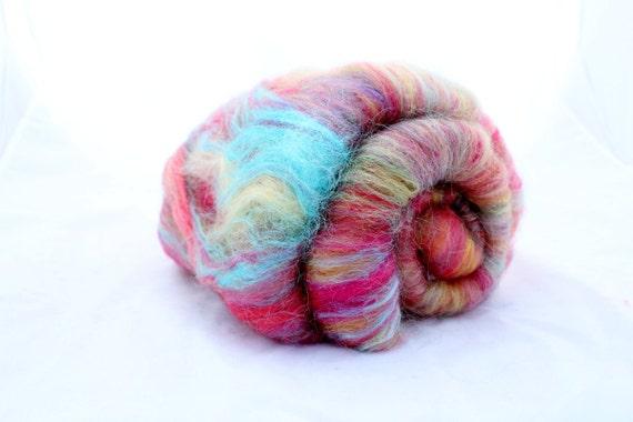 Spinning Fiber Art Batt - Crazy Color Fair - Merino Firestar Silk Angelina - 3.07 oz