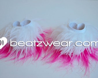 MADE TO ORDER Two tone Fluffy wrist cuffs raver gogo faux fur
