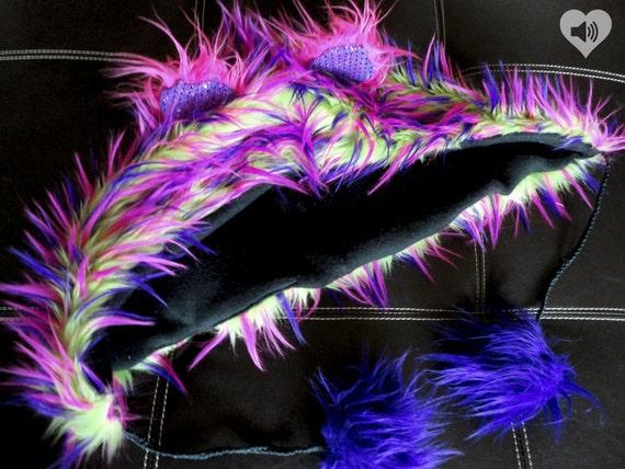 CUSTOM festival hood rave hood with pom poms animal hat wolf hat bear cat mouse bunny hood