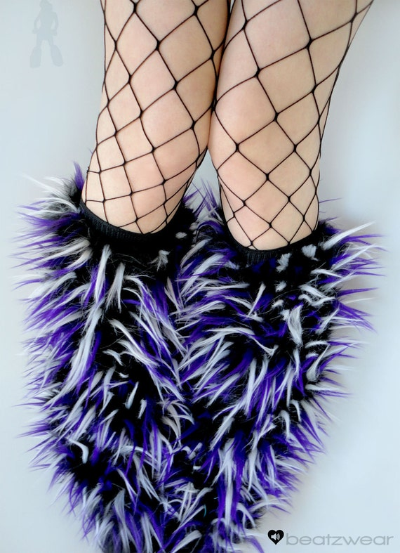 Rave Fluffies uv white, purple, & black fluffy legwarmers monster fur furry bootcovers fuzzy boots gogo