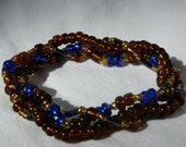 Clearly Brown 3 Strand Beaded Stretch Bracelet - Custom Made to Size