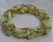 Gold 'N Mint 5 Strand Beaded Stretch Bracelet - Custom Made to Size
