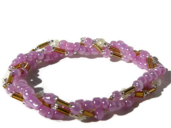 Dainty Pink 3 Strand Beaded Stretch Bracelet - Will Custom Make to Size