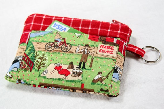 Coin Purse - Notions Pouch with Pocket and Key Ring - Farm Stand