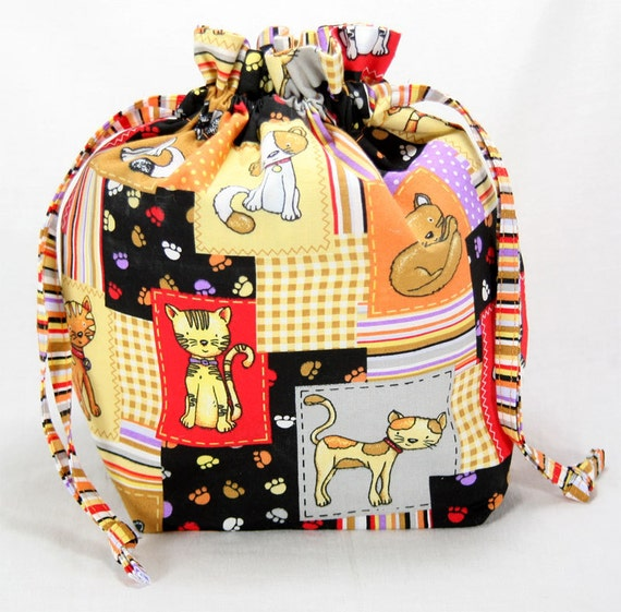 Cutie Cats -  Small Drawstring Project Bag