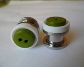 00g White and Green Button Ear Plugs