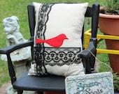 Shabby Chic Bird Pillow