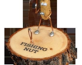 """Fishing Peanut Figurine """"Fishing Nut"""" by We're Nuts About Life"""