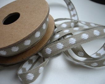 Natural Linen Sewing Tape / Ribbon / Trim /  - Embroidery White Dots    - Edging  Made in France Craft and Sewing Project Wrapping