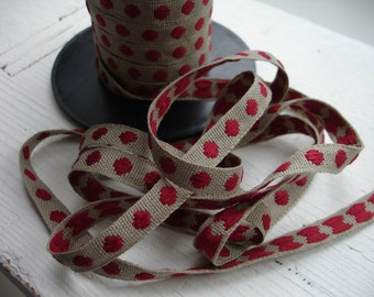 Natural Linen Sewing Tape / Ribbon / Trim /  - Embroidery Red  Dots    - Edging  Made in France Craft and Sewing Project Wrapping