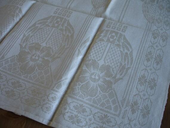 Original Antique  Art Nouveau Linen Towel  Medallions Flowers Monogram EM   Kitchen Runner  Dish Cloth/ Napkin   Wrap  Bath Cloth  Torchons